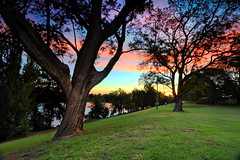 Emu Plains and Nepean River Penrith Australia (sugarbellaleah) Tags: park travel pink trees sunset red sky reflection tourism nature water beautiful grass silhouette rural river landscape outdoors countryside sundown lawn scenic dramatic lifestyle peaceful australia calm bark environment leisure recreation lush awe gumtree tranquil penrith wellness parkland wellbeing nepeanriver emuplains