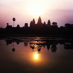 A sunrise view of Angkor Wat, Siem Reap. (limsopheak) Tags: sunrise square lofi angkorwat squareformat siemreap iphoneography instagramapp