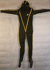 Vintage Cousteau yellow striped wetsuit one piece (Vintage Scuba) Tags: two man black men wet water yellow fetish vintage silver one us divers aqua mask under scuba diving rubber suit mans mens diver piece jacques striped drysuit fins wetsuit breathing lung aparatus neoprene