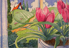 A Captured Bit of Springtime Storybook Cottage Series (cottagelover1953) Tags: house home watercolor spring tulips cottage retro deco storybook watercolorpainting originalwatercolor vintagestorybook redroofcottage