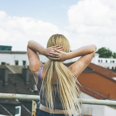 Rooftops (Louisa H) Tags: portrait woman sun rooftop girl model availablelight longhair sunny blonde freckles cari freckled croptop