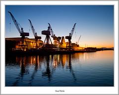 Shipbuilders To the World (flatfoot471) Tags: winter sunset urban scotland riverclyde twilight crane dusk glasgow military ships destroyer shipyard govan royalnavy type45 hmsdauntless