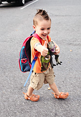 {Julian 365 - 74 - First Day of Pre-K (citygirlny10305) Tags: boy portrait orange motion walking toy happy toddler dinosaur spiderman documentary tshirt naturallight excited dimple backpack mohawk preschool prek thumbsup bigsmile trex firstdayofschool milestone cargoshorts 365project onecooldude polliwalks canon5dmarkii