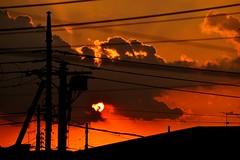 Solar Power (hidesax) Tags: sunset sky orange sun japan clouds nikon ray utility pole saitama setting solarpower ageo hidesax d800e