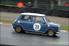 Oulton Park - Cheshire (ladythorpe2) Tags: park uk classic cup car race austin gold tim cheshire 15 august mini 71 historic chester 25 british saloon 8th bmc classified motorsport oa 2014 harber oulton arcing caterhamsevenlotusaustin ladythorpe2