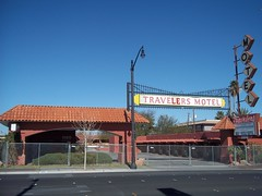 The Traveller's Motel Entrance and Marquis II (time_anchor) Tags: signs eastvillage neon lasvegas signage fremontstreet marquis neonsigns luckyladymotel vintagemotelsigns