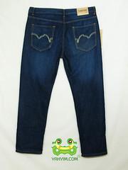 กางเกงยีนส์ขากระบอกเล็กผู้ชายอ้วนบิ๊กไซส์สีบลู มีปักกระเป๋าหลัง JNLY 002 หลัง