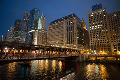 Goodnight to the Windy City (Mister Rad) Tags: city chicago reflection skyline night train buildings river illinois unitedstates l chicagoriver nikon20mmf28 nikond600