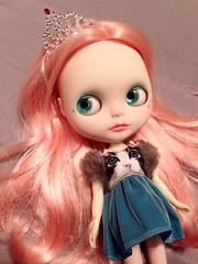 Happy Birthday Luna! (RoxyPaige) Tags: birthday pink cat factory dress luna crown blythe custom scalp cosmia roxypaige