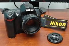 New/old gear (DigitalCanvas72) Tags: 2005 2004 nikon d70 d70s nikond70s nikkor dslr oldcamera primelens 50mm18d enel3e 24mm28d gearpic olddslr