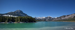 Barrier Dam (Canon Queen Rocks (860,000 + views)) Tags: trees sky panorama lake canada mountains water landscape scenery scenic blues bluesky alberta views vista canmore barrierdam ilobsterit