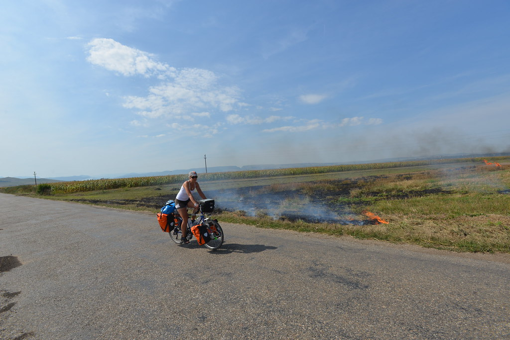 Burning crops in Romanian