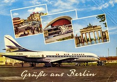 Germany - Berlin [138] - Tegel Airport [01] - Caravelle - Air France [F-BHRA] - 1967 - front (Ye-Di) Tags: aircraft caravelle airplane aviation krüger ansichtskarte postcard