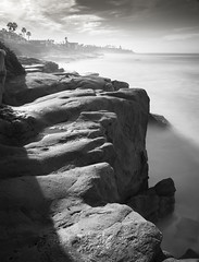 san diego : windansea beach (William Dunigan) Tags: san diego windansea la jolla beach seascape sunrise morning black white photography bw monochrome waves water long exposure motion blur cliff