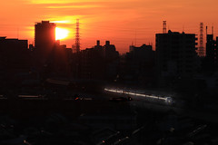 Super Express(Azusa) in Morning Light (seiji2012) Tags: jr 鉄道 中央線 スーパーあずさ シルエット 朝日 国立市 train sunrise morning silhouette