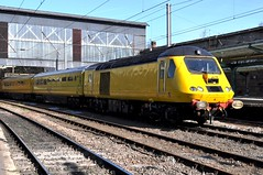 Network Rail's New Measurement Train, at Carlisle. (Raymondo166) Tags: new station speed train other high power citadel no rear rail railway front class arrive end network arrival heading 013 carlisle leading 014 43 unit measurement hst livery 43014 43013 liveried
