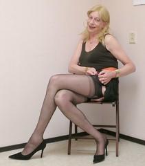 Readjusting a garter. (sabine57) Tags: stockings drag tv highheels cd crossdressing tgirl transgender tranny transvestite crossdresser crossdress nylons travestie transvestism stockingtops seamedstockings