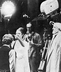 Princess Leia awarding a medal to Han Solo (Tom Simpson) Tags: blackandwhite vintage starwars harrisonford princessleia carriefisher behindthescenes
