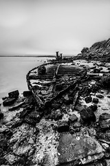 Returned to Earth (maggiegardenerphotography) Tags: blackandwhite beach contrast landscape shipwreck