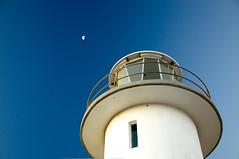 Lighthouse and the Moon (kieranburgess) Tags: sky moon lighthouse white top australia tasmania column eastcoast bluedeep