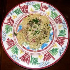 #5870 carbonara pasta (Nemo's great uncle) Tags: food yoga geotagged lunch tokyo squaredcircle  squircle    setagayaku   tapastapas  geo:lat=35627103 geo:lon=139632332