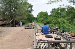 The track ahead- and no, I'm NOT driving the Norry! (oldandsolo) Tags: cambodia southeastasia traintracks derelict railwayline battambang disusedrailway bambootrain nory trainstationplatform abandonedtrainstation battambangprovince norry abandonedrailwaystation northwestcambodia cambodiarailways royalrailwaysofcambodia tollrailwayscambodia cambodiabambootrain