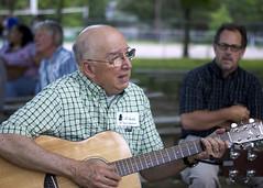 Board member Al Hubbs jams with Steve and Wally