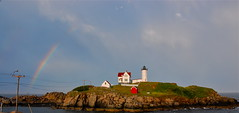 Under the Rainbow (Kadeefoto) Tags: ocean lighthouse beach rainbow maine nubblelight shortsands capeneddick yorkme yorkbeachmaine