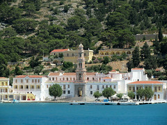 Approaching Panormitis monastery, Symi island [Explored] (pefkosmad) Tags: vacation holiday church island worship religion hellas belltower holy greece monastery venetian greekislands boattrip griechenland pilgrimage symi dayout greekorthodox archangelmichael greekorthodoxchurch dodecanese panormitis explored pefkosjune2014