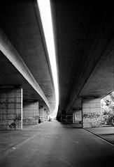 Under the Bridge (silberschleier64) Tags: blackandwhite bw architecture deutschland bonn schwarzweiss nordrheinwestfalen locations canonftb fujifilmneopanacros100