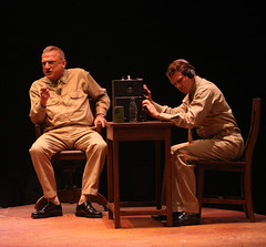 (L to R) Ron Wisniski (Capt. George Brackett) and John B. Williford (Radio Operator Bob McCaffrey) in South Pacific, produced by Music Circus at the Wells Fargo Pavilion July 22-27, 2014. Photos by Charr Crail.