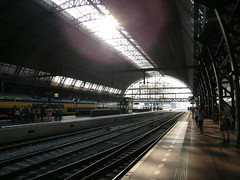 Amsterdam Central Station (Partyphogho Photography) Tags: vacation people sun holiday netherlands station amsterdam train central platform trains busy