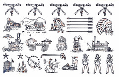 1956 Disneyland Tattoos - Frontierland (Tom Simpson) Tags: tattoo illustration vintage logo design fort disneyland indian chief rifle disney 1956 frontierland marktwainriverboat vintagedisneyland vintagedisney