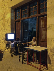 TV Dinner (jonwaz) Tags: tv europa europe greece crete gr chania kriti man old shopping cart dinner tv jonwaz