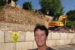 218 2014 Midford landslide repair (Margaret Stranks) Tags: workmen landslide embankment excavator 2014 stabilisation 365days midford 218365