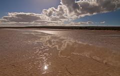 Sun in the Sand (missnoma) Tags: sky reflection beach clouds sand lowtide southaustralia tidal eyrepeninsula mangrovearea nearpointlowly