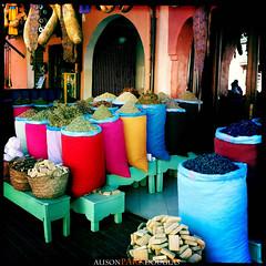 Morocco Marrakech colorful spices market-medina (alisonparkdouglas) Tags: travel colors colorful market vivid morocco spices marrakech souk marketplace marrakesh bazaar souks souq 2012 travelphotography travelphotos hipstamatic photographybyalisonparkdouglas