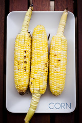 Corn (Playing_with_light) Tags: yellow season three juicy corn plate bbq vegetable delicious cooked tempting cobs