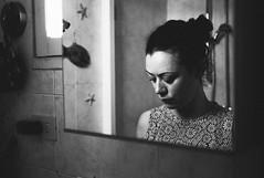 getting ready (gorbot.) Tags: summer portrait blackandwhite bw rome bathroom roberta lightroom rangefindercamera mmount leicam8 voigtlander28mmultronf19 vscofilm