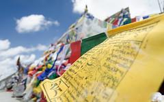 Prayers (Arkayge) Tags: blue red sky green yellow colours wind flag banner khardungla lehladakh ladkah khardungpass