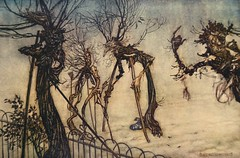An elderberry hobbled across the walk and stood chatting with some young quinces.  Art by Arthur Rackham (lhboudreau) Tags: art fairytale book artwork artist magic illustrations drawings peterpan books fantasy novel kensingtongardens fairies 1906 childrensbook magical barrie fairytales hardcover jmbarrie elderberry rackham quinces illustratedbook arthurrackham peterpaninkensingtongardens