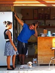 Isla Mujeres, Quintana Roo, Mexico, 2014 (Photox0906) Tags: boy woman dog chien sun guy love girl bar relax mexico island evening soleil cool chica counter flirt femme young yucatan tienda amour mexique chico stool soir fille tabouret garon mexiko islamujeres quintanaroo le jeune inseln drague comptoir