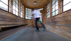 warm up @ train shelter . pontresina (Toni_V) Tags: motion blur me station architecture schweiz switzerland europe suisse bahnhof rangefinder svizzera engadin scarpa m9 2014 21mm rhb oberengadin pontresina graubünden grisons wartehäuschen selbstauslöser rhätischebahn svizra myswitzerland grischun trainshelter puntraschigna skinfit messsucher ©toniv leicam9 140825 bahnhofpontresina superelmarm engiadin'ota l1018323