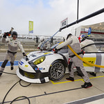 Porsche North America crew performs a pit stop on the No_ 912_001