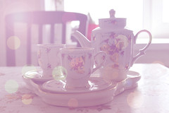 The tea set (Umedvedeva) Tags: pink stilllife cup photoshop canon tea bokeh cups dishes tableware