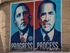 Progress & Process (ColorLyon LM's) Tags: orgosolo sardaigne progress process obama barack silvio berlusconi dessin picture blue red rouge bleu démocrate américain american