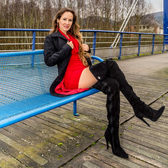 Red dress (ZoRRaW photography) Tags: portrait outdoor brown hair long longbrownhair red dress black coat overkneeboots fernandoberlin fernando berlin