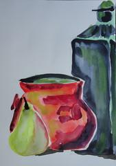 Still life with fruit and green bottle, by Carlos - DSC07326 (Dona Mincia) Tags: stilllife art fruit watercolor painting paper arte fruta study greenbottle pintura aquarela naturezamorta garrafaverde