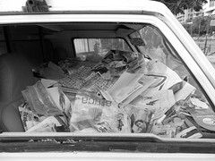 -Unwanted things ( ) Tags: white black car junk papers inside
