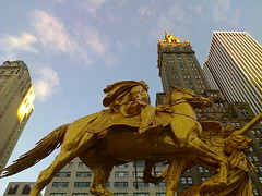 Sherman at sunset (C_Oliver) Tags: sunset sky horse usa newyork statue bronze america skyscraper gold golden centralpark manhattan goddess 5thavenue balls nike testicles gilded equestrian grandarmyplaza generalsherman 59thstreet augustussaintgaudens williamtecumsehsherman